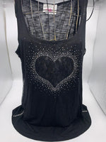 M258  Black Heart Lace (Loose fit Top)