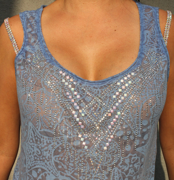 M727  Shiny Necklace Loose Fit Top