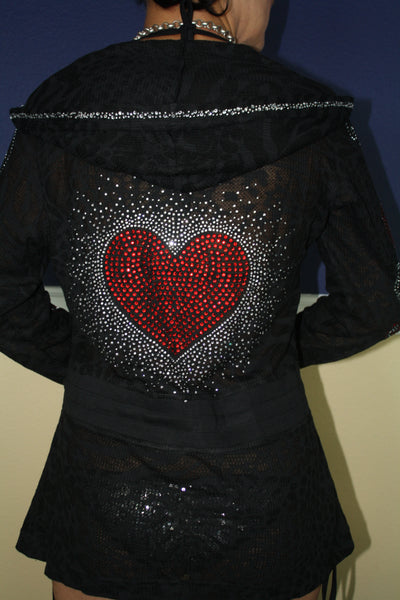 M8709 Hearts All over Burn-Out Hoodie Long String Jacket