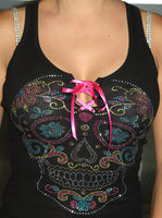 Heart Diamond Skull (Open-Front) Racer Tank