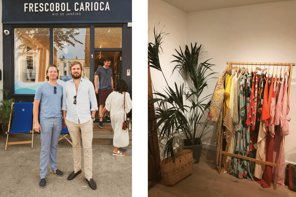 Harry and Max, Frescobol Carioca founders (left) and Adriana Degreas corner at A Place in the Sun pop up store (right)