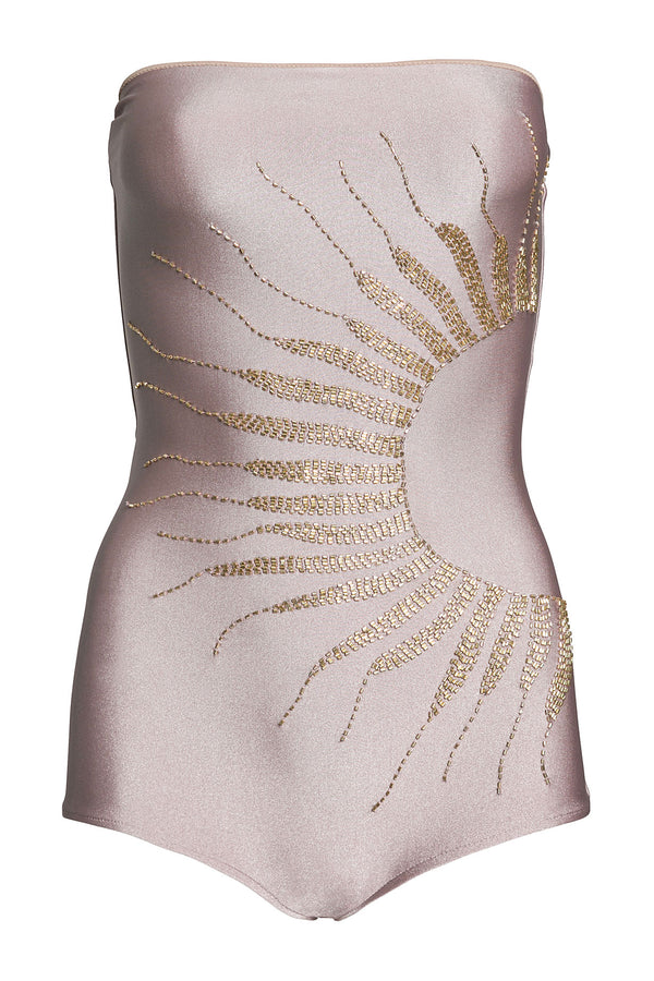 Soleil Embroidered Strapless Swimsuit