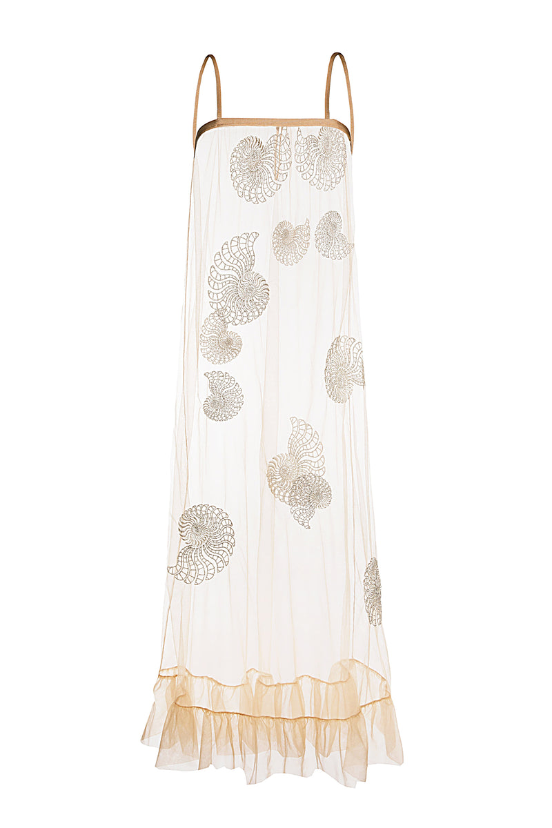 Nautilus Embroidered Tulle Midi Dress