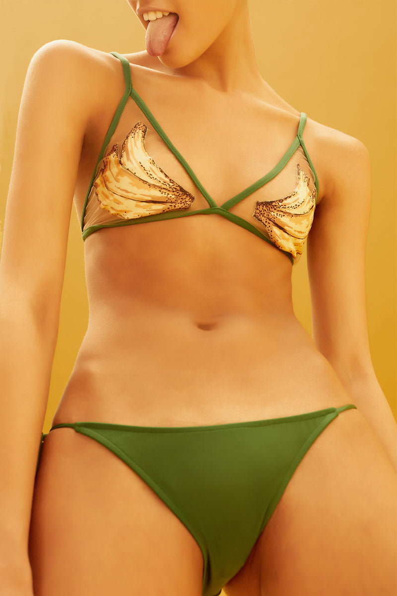 Bananas Detail Triangle Bikini with Side Ties