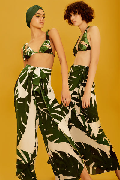 Geometric Foliage Pareo Long Skirt