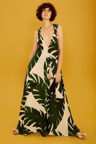 Geometric Foliage Long Dress with V-neck