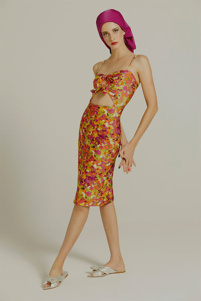 Fruits Print Short Dress with Knot Detail