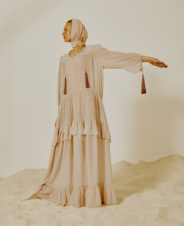 Fig Solid Oversized Long Dress with Ruffles and Tassels