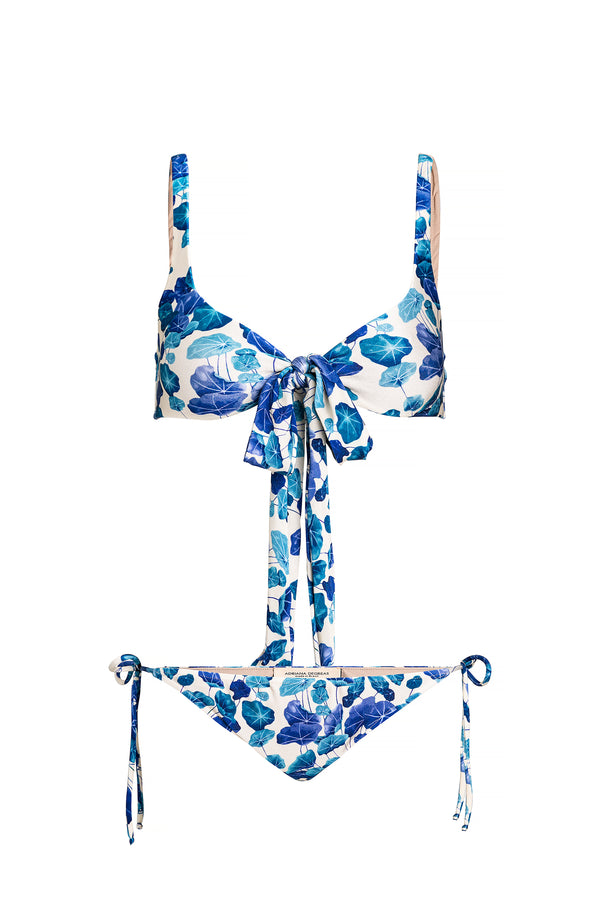 Turquoise Flower Bikini With Knot