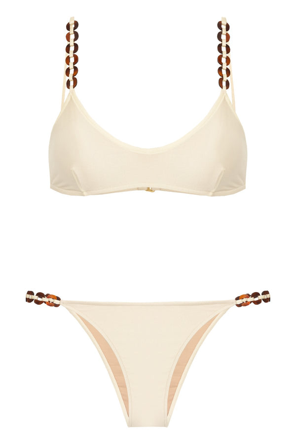 Solid Chain Detail Bikini With Straps