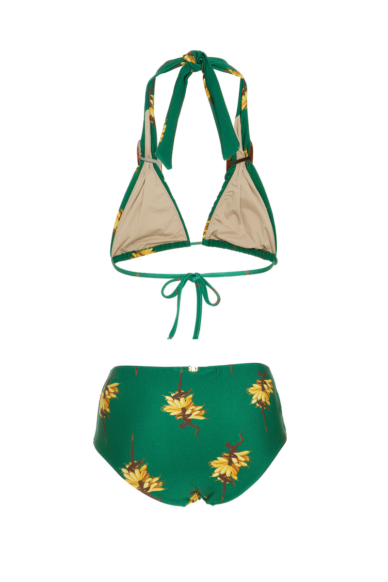 Josephine Baker Print Long Triangle Bikini With Buckle