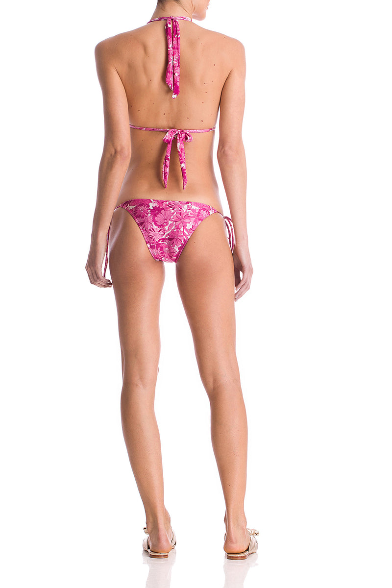 Flower Bloom Ruffled Long Trinagle Bikini