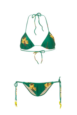 Josephine Baker Print Triangle Bikini with Ties