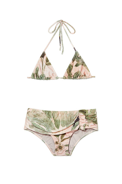 Toucan Print Triangle Bikini With Ruffles