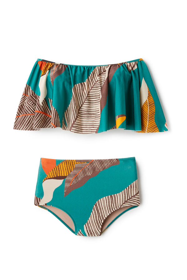 Bahiana Print Off the Shoulder Hot Pants Bikini