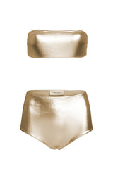 Golden Hot Pants Bandeau Bikini