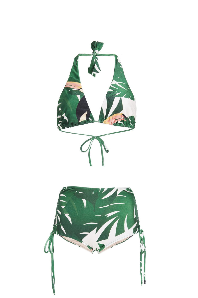 This tropical long triangle top hot pants with frilled side ties helps you to find your perfect fit