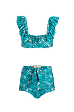Flower Bloom Ruffled Hot Pants Bikini With Knot
