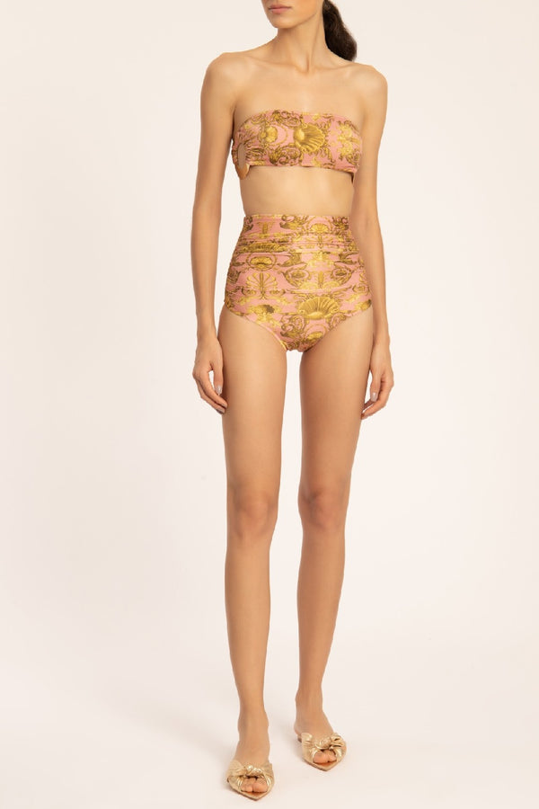 Seashell High-waisted Bikini With Frilled Detail