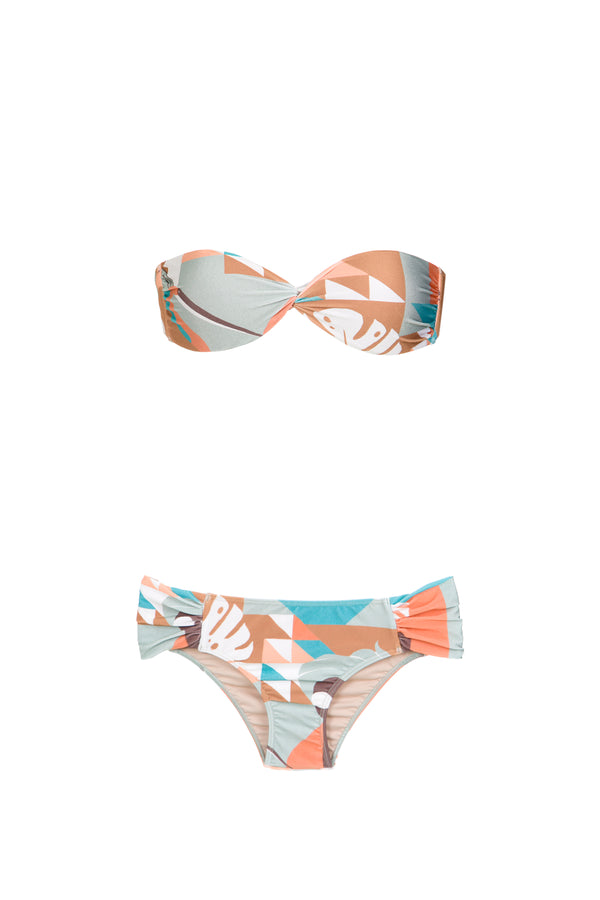 Inspired by its Brazilian heritage, this strapless bikini features a blue, brown and rose tropical print