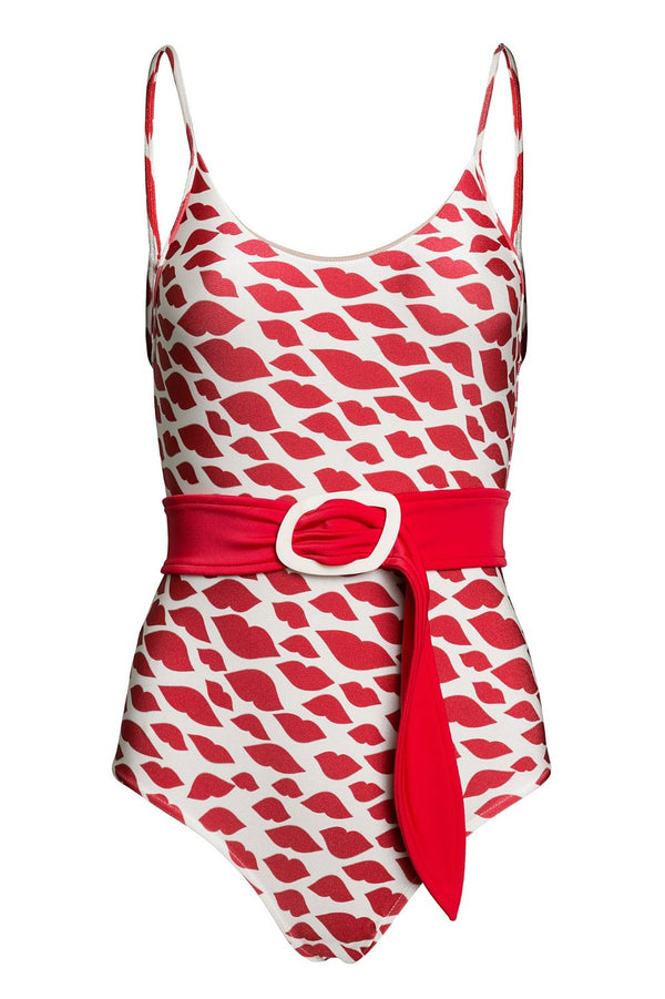 This joyful swimsuit with a retro charm is made s stretch fabric and the detachable belt creates an elegant silhouette