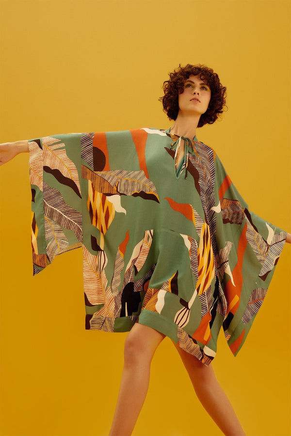 Adriana Degreas' Brasiliana collection is inspired by beaches from Brazil especially Rio de Janeiro and Bahia and this short kaftan is made from cotton-voile patterned with geometric inspirations