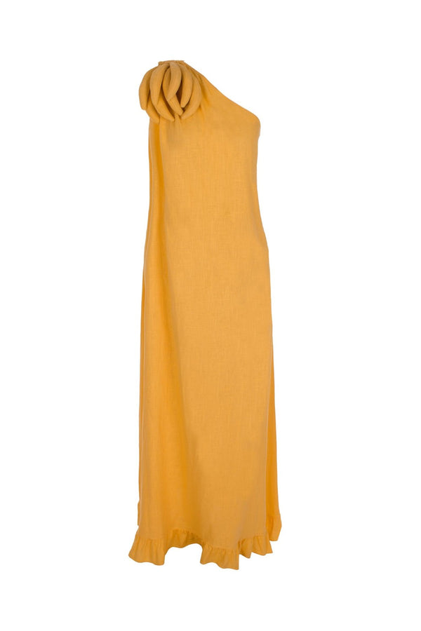 This breezy linen long dress is essential for a very chic tropical summer wardrobe
