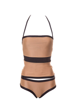 For a more discreet look, go for this blouse bikini set. In plain beige and black stretch fabric, with a central black panel that helps to flat you silhouette