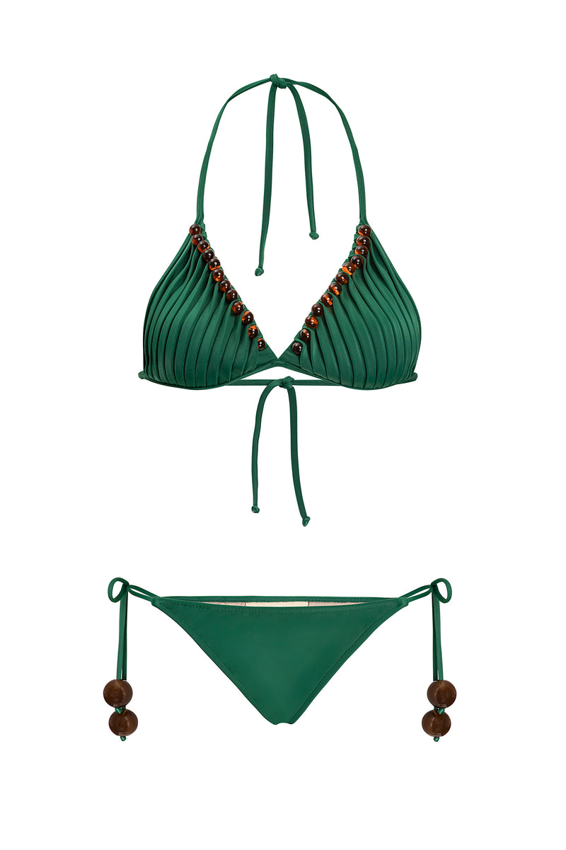 Cult Gaia Triangle Bikini With Side Ties and Tortoise Detail