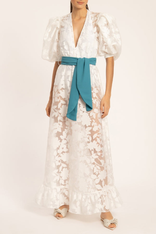 Organza Puff-Sleeved Long Dress With Sash & Bodysuit Set