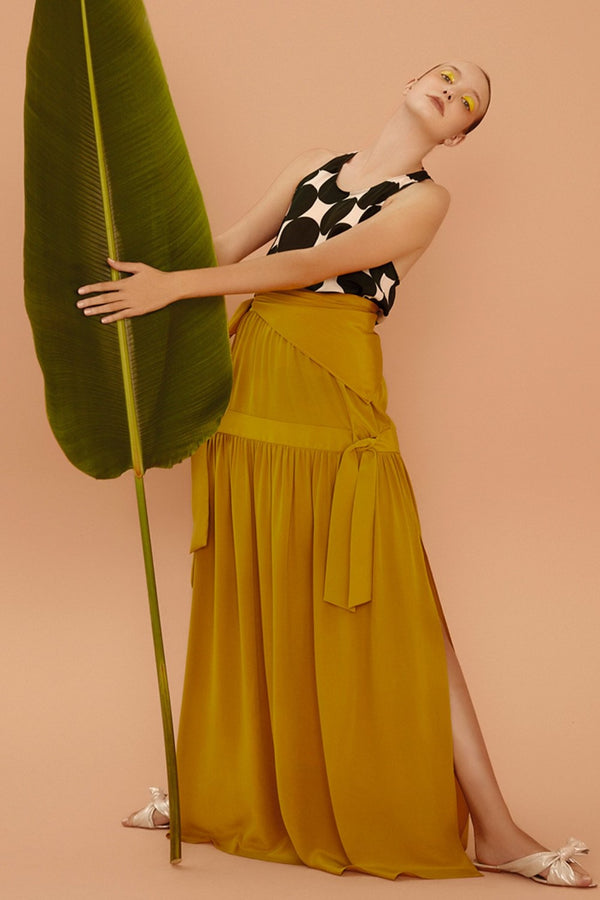 This silk long skirt is an ultra-versatile piece for summer evenings and perfect for vacation