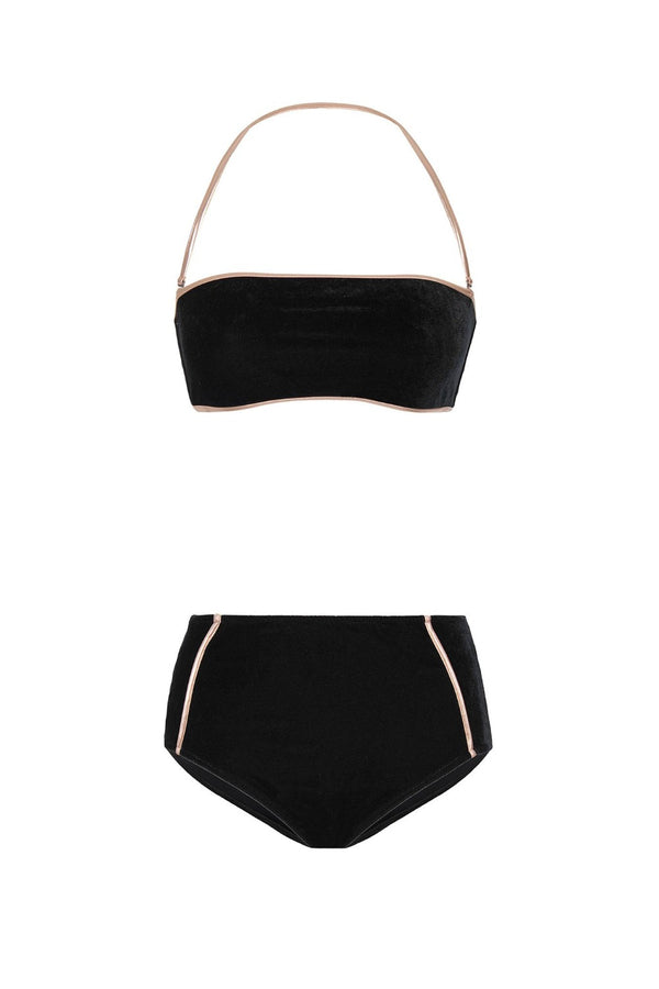 Strapless hot pants bikini is made from rich black/navy velvet with golden details around borders
