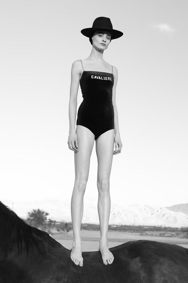 The designer wanted to capture the disco vibe of the '70s with this exclusive Cavaliere printed one piece