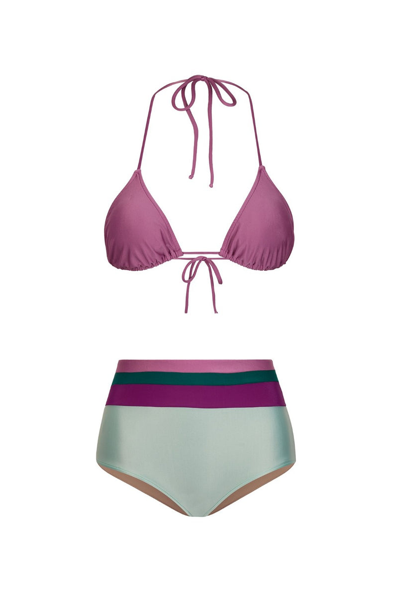 These high-rise briefs bikini with triangle top has a cool combination of colors and are perfect for your next summer scape