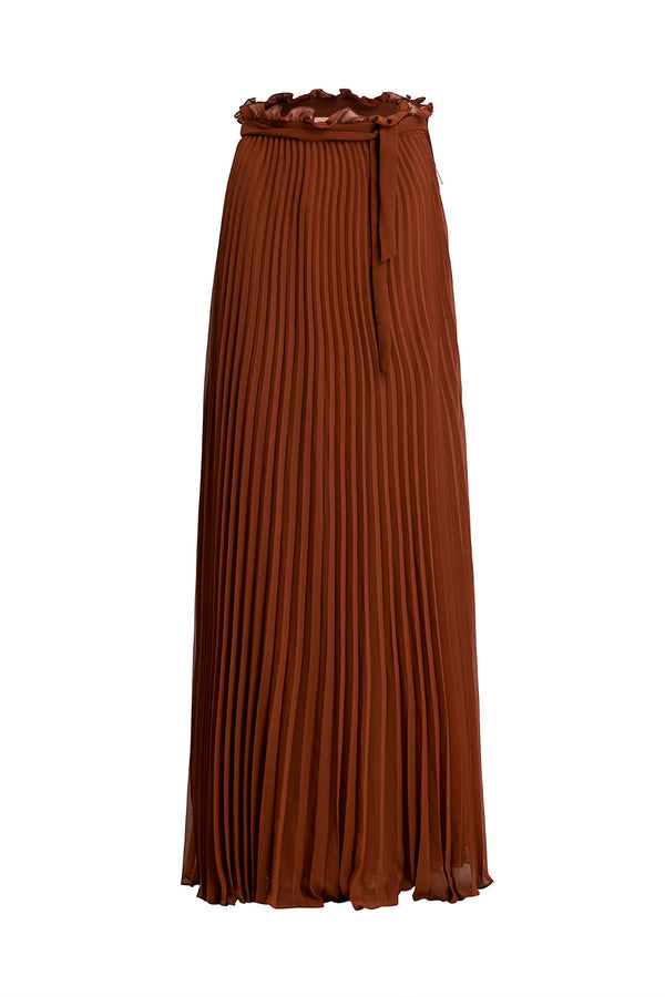 Made from lightweight chiffon, this long pleated skirt is designed to create beautiful and fluid movement when you walk