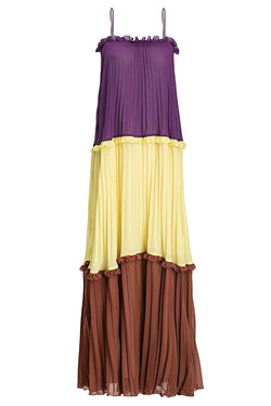This long dress is made from plissé chiffon and inspired from beautiful colors from Cinque Terre, Italy