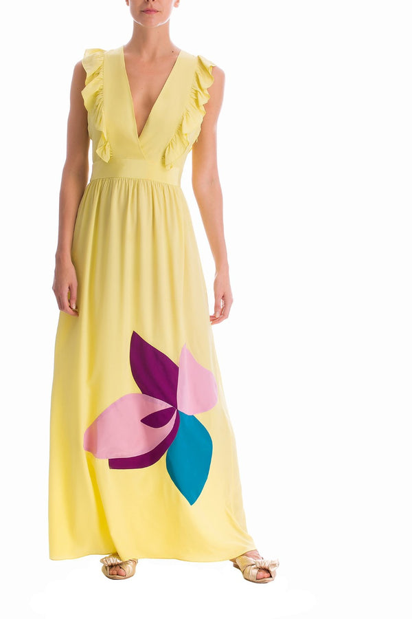 Colorful Flowers Ruffled Long Dress