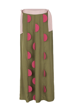 Inspired by the '20s Art Deco style, this long skirt features an array of geometric patterns in vintage rose and green