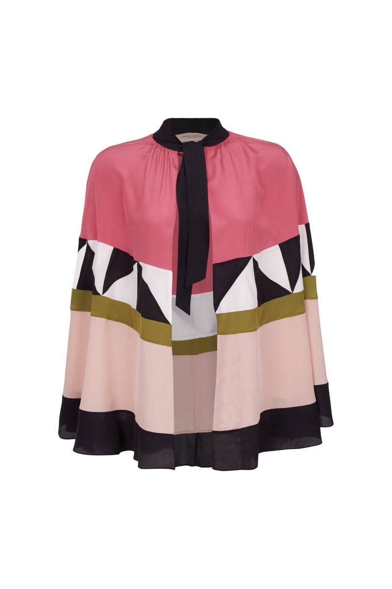 Inspired by the '20s Art Deco style, this short cape features an array of geometric patterns in vintage rose, green and black