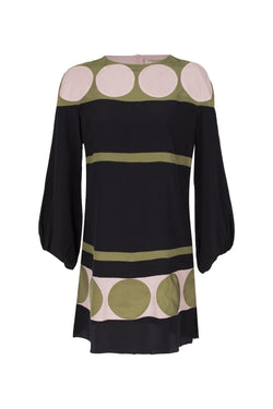 This dress features an array of geometric patterns with green, vintage rose and black