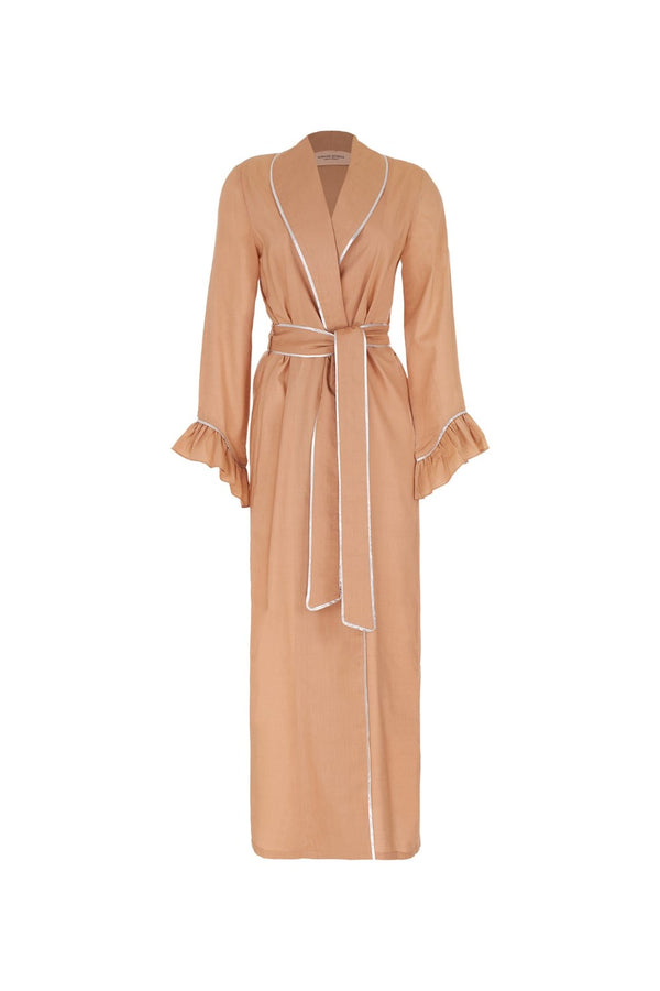 This robe is cut from cotton and can be cinched at the waist using the self-tie belt. Wear it on your way to the beach with a solid swimsuit for a minimalist edit