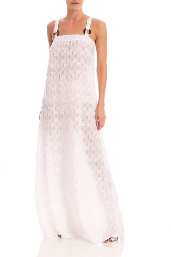 Unique pieces like this long dress made of silk with a tortoiseshell hoop, is the perfect choice for an elegant and special occasion. Wear it with sandals and clutch at night