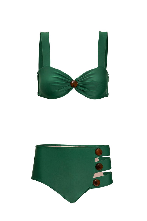 This bikini in geometric shape with side cut-outs and decorative buttons is a modern and elegant choice for a tropical vacation