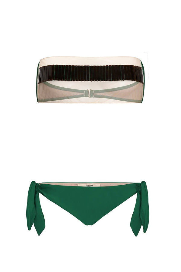 Cult Gaia Tortoise Bandeau Bikini With Tulle and Side Ties