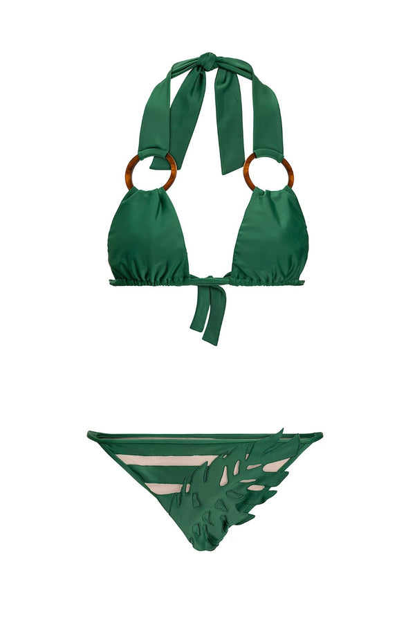 This bikini with tulle and foliage applique is inspired by Brazilians landscapes and colors of nature