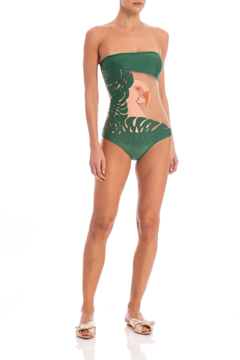 This swimsuit with tulle and macaw applique is made in Brazil and is truly an object d´art