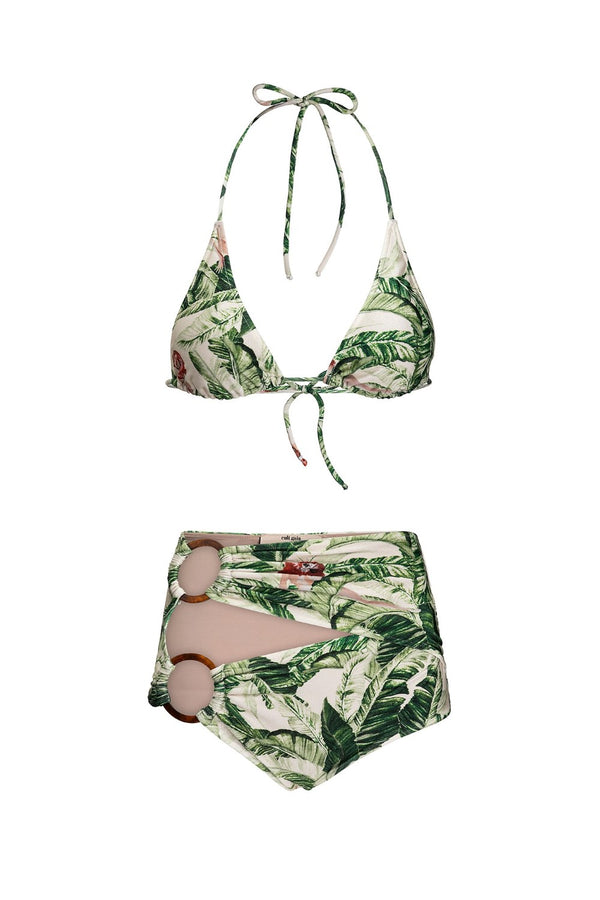 The vibrant and tropical print of high waist bikini is inspired by the designer´s native country Brazil