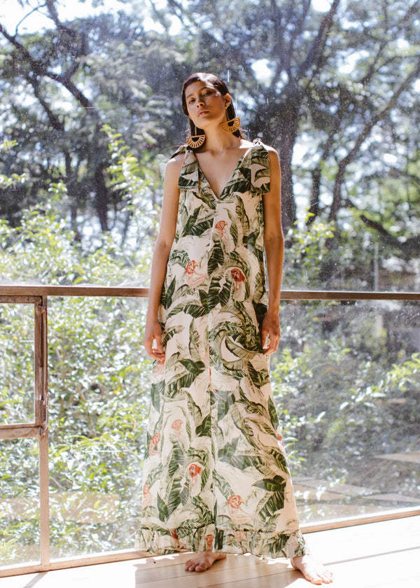 Cult Gaia Tropical Long Dress With V-Neck