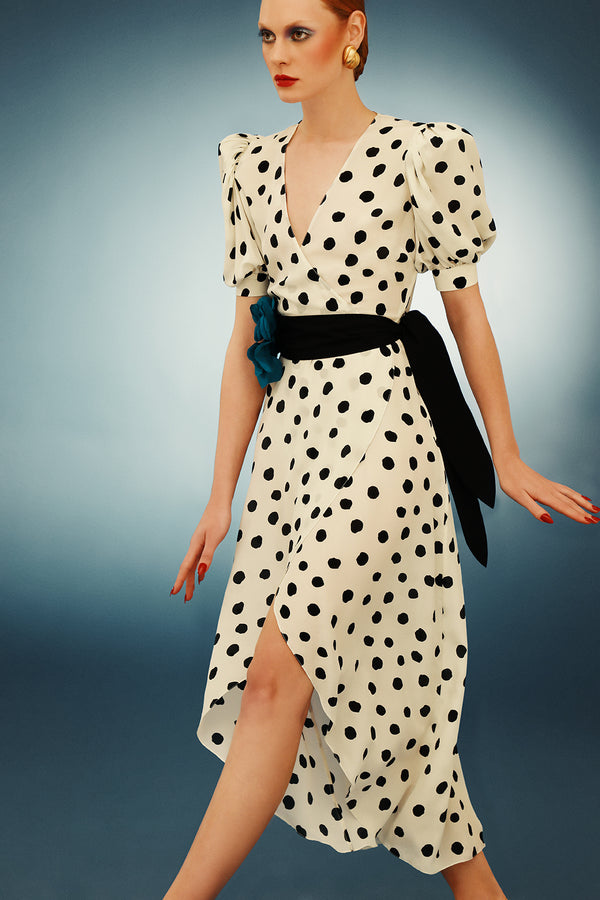 Pois Midi Dress With Voluminous Sleeve And Sash