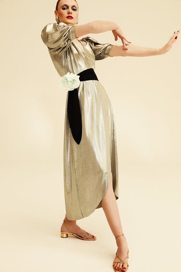 Metallic Midi Dress With Sash